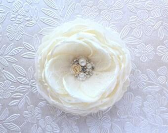 Ivory Cream Hair Flower/ Brooch/ Handmade Wedding Accessory