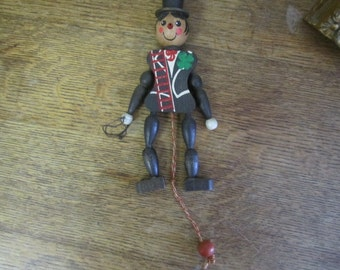 Vintage Wooden Circus Master Jumping Jack pull toy. Wooden pull toy. Jumping Jack Circus Master.
