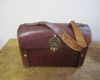 Fabulous Oxblood Suitcase style Leather Pocket Book. Small  Leather Handbag. Leather Pocket Book