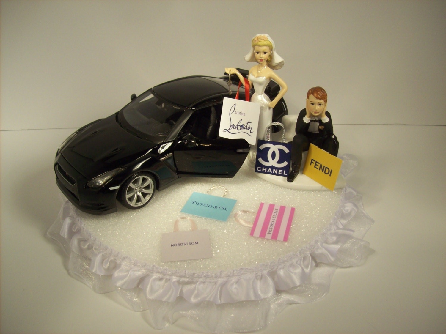 SHOPPING Bride w 2009 Nissan GTR Black CAR Keys Funny Wedding
