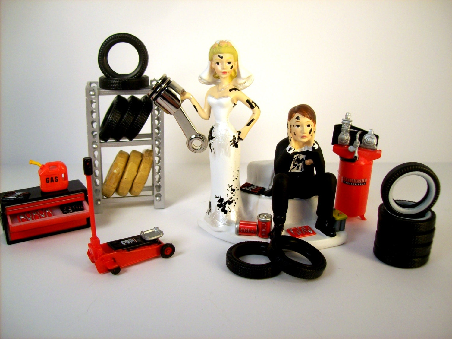 Car Mechanic Wedding Cake Topper