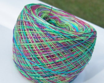 LIMITED AMOUNT - Crochet Cotton - Size 20 - Hand Dyed - Tie Dye Fun - Your Choice of Length