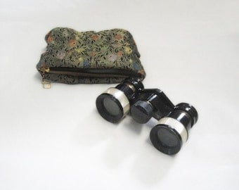 French Opera Glasses - Mother of Pearl - Black and Mother of Pearl - Case - Theater Glasses Binoculars - Vintage