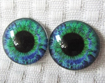 Two Glass eyes- 20mm cabochons-polymer clay safe