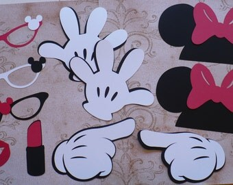 DIY Minnie Mouse Black Ears Gloves Glasses Red Bow Lipstick Lips Cardstock for Crafts Photo Booth Birthday Party Weddings Props DIY