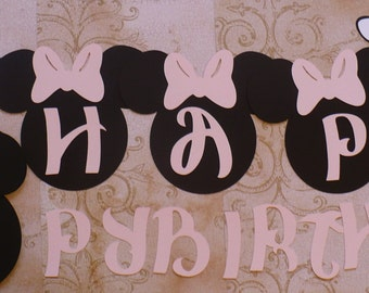 DiY HAPPY BIRTHDAY Banner Black Head Shapes Minnie Mouse Light Pink Bow Die Cuts  Wall Decorations Banners