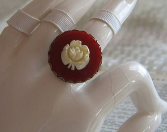 Vintage Red Poker Chip and Not Quite White Carved Rose Adjustable Silver Tone Ring