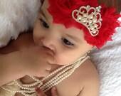 Baby Girl red shabby chic chiffon flowers elastic crown rhinestone heaband,Girl headband.