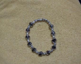 Silver Black Stretch Bracelet