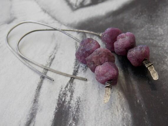Organic Unpolished Ruby Sterling Silver Earrings  Raw rubies  Gemstone    Unpolished Ruby