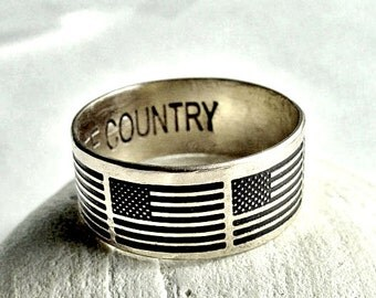 stars and stripes old glory Patriotic American flag ring 4th of july  gift for men Independence day American flag Gift to dad in father day
