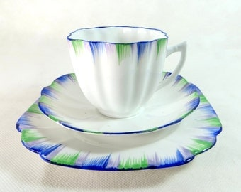 Art Deco Trio, Melba China Blue Green & Lilac Feathered Bone China Cup, Saucer, Teaplate Trio Set 1948-1951
