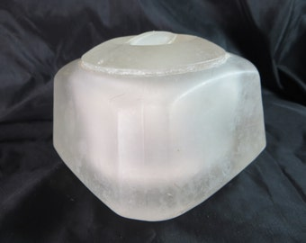 Art Deco Powder Jar, French Heavy Chunky Frosted Alabaster Glass Powder Puff Toilet Jar 1920s-30s