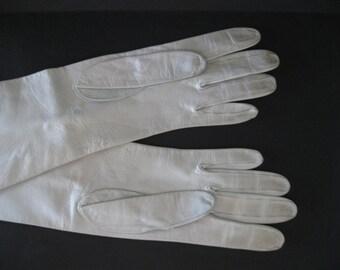 Vintage Blue Leather Lady 3/4 Gloves