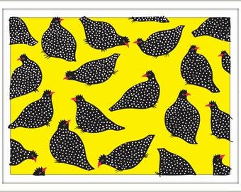 Print – Guinea Hens