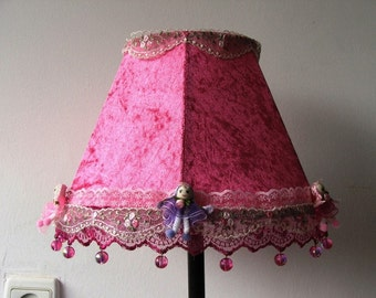 Tiny Dolls on a Lovely Hot Pink Table/ desk / bedside  Lamp - Fit for a Princess