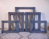 Blue Frame Set Rustic Shabby Chic Distressed Navy Photo Collection Nautical Beach Cottage Coastal Cabin Lake House Home Decor Gift For Him