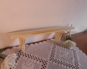 Ivory Cream Light Pale Yellow Wood Shelf Shabby Chic Distressed Wall Hanging Curio Display French Country Farmhouse Cottage Home Decor Dish