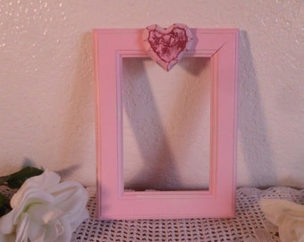 Valentines Day Gift Pink Shabby Chic Heart Picture Photo Frame Paris French Victorian Home Decor Romantic Wedding Decoration Girl Gift Her