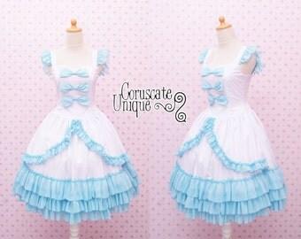 Alice in Wonderland Wedding Dress Lolita Bow Ribbon Ruffle