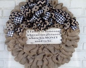 Burlap Father's Day Flat Wreath