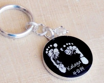 Baby Footprint Keychain - Child's Footprints - Baby Footprints - Mother's Day - New Baby - Father's Day - Memorial - Infant Loss