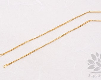 E238-G// Gold Plated Chain Earring, 4pcs