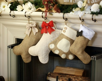 Pet Stockings - Burlap Christmas Stockings for Dogs and Cats