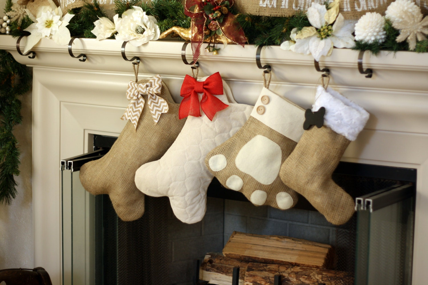 Pet Stockings Burlap Christmas Stockings BOW NOT INCLUDED