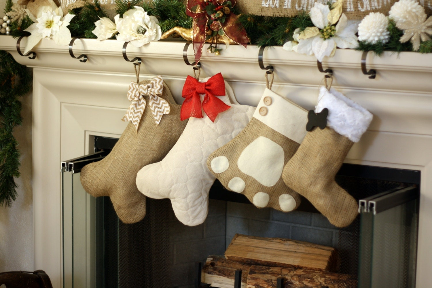Personalized cat christmas ornaments - Pet Stockings Burlap Christmas Stockings Bow Not Included