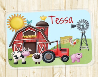 Kids Personalized Placemat - Farm Animals Laminated Placemat for Girls or Boys