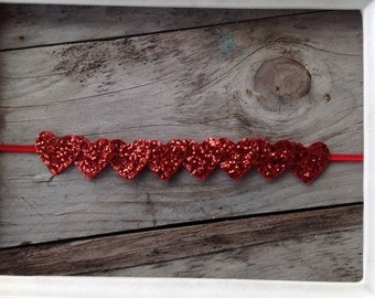 Red Glitter Heart Garland Valentines Day Headband Newborn Headband Photography Prop Baby Girl Headbands Toddler Headbands Heart Headband