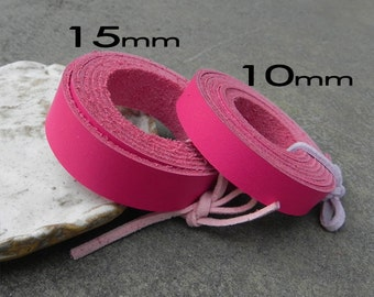 1 Yard (900X10mm) or (900x 15mm) Pink Cowhide Lace Strap, Genuine Leather Strap