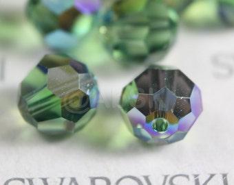 12 pcs Swarovski Elements - Swarovski Crystal Beads 5000 8mm Round Ball Beads - Erinite AB