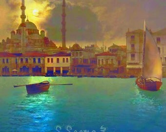 Turkish Moonlight,Middle Eastern,Turkey,Painting,Blue,Teal,Wall Art,Moonlight, S Seema Z