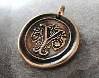 wax seal charm initial Y - wax seal jewelry by RQP Studio
