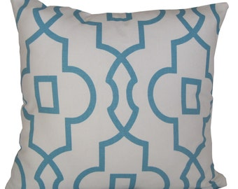 Blue White Decorative Trellis Pillows, 16x16 inch decorative pillows, pillow sets, pillow covers, cushion covers, throw pillows, boys room