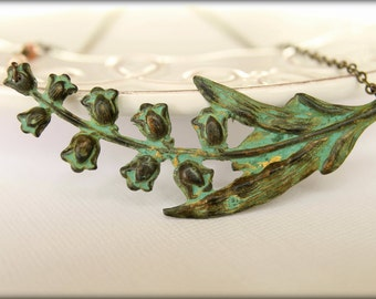 Verdigris Lily of the Valley Necklace