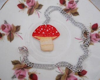 Red and White Mushroom Polymer Pendant Necklace