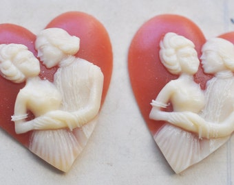 TWO Vintage Heart Shaped Cameos, Resin, 20mm X 33mm