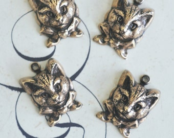 Brass Kitten Charms - Brass Ox- FOUR-Jewelry Supplies by CalliopesAttic
