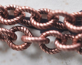 17 gauge Steel, Textured Cable Link Chain, X1FT,  Rose Ox