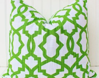 Green Pillow Cover, Green Throw Pillow Cover, Green Cushion, Geometric Pillows, Kelly Green, Emerald Green Accent Pillow, Trellis Pillow