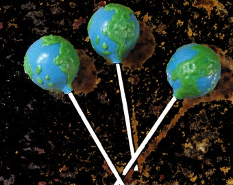GLOBE CAKE POPS, Earth Day Cake Pops, World Map Cake Pops, Bon Voyage Cake Pops, Travel Cake Pops, Farewell Cake Pops
