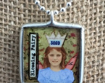 Silver Soldered Pendant - The Blessings Fairy Reversible Collage Art Glass Charm Necklace