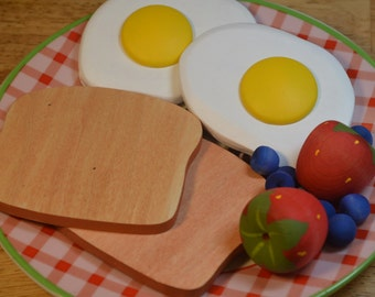 Wooden Play Food Organic Breakfast Pretend Food Eggs and Toast For Two