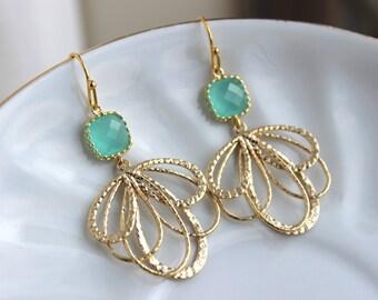 Gold Mint Feather Earrings Aqua Blue Jewelry - Mint Bridesmaid Earrings - Gold Bridal Earrings - Wedding Jewelry - Blue Minimalist Jewelry