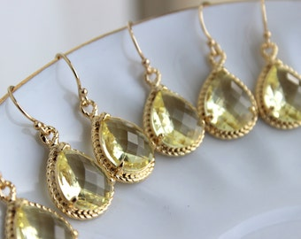15% OFF SET OF 7 Wedding Jewelry Citrine Yellow Bridesmaid Earrings Bridesmaid Jewelry - Yellow Earrings Gold Citrine Teardrop Jewelry