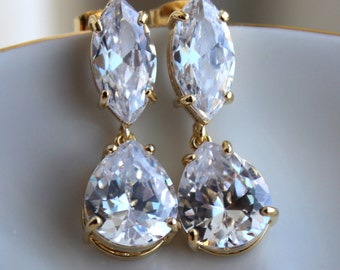 Gold Crystal Earrings CZ Teardrop Bridal Jewelry - Clear Bridal Earrings - Marquise Bridal Accessories Wedding Jewelry Bridesmaid Gift