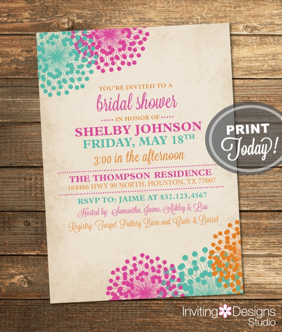Wedding shower invitation vintage bridal shower floral for Classic bridal shower invitations